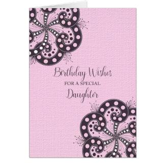Cartão Desejos do aniversário para uma filha especial