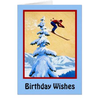 Cartão Desejos do aniversário, salto de esqui