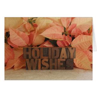 Cartão desejos do feriado da poinsétia