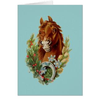 Cartão Desejos do Natal do puro-sangue