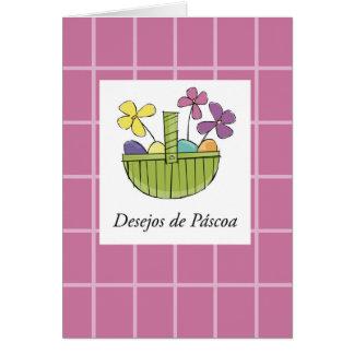 Cartão Desejos portugueses da cesta da páscoa