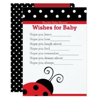 Cartão Desejos vermelhos das bolinhas do joaninha para o