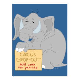 Cartão desempregado do elefante do circo