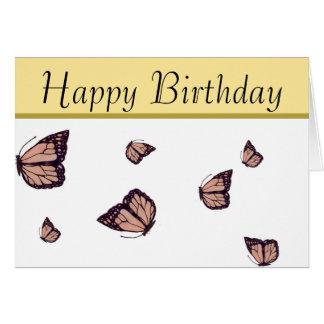 Cartão desenhado mão da borboleta de monarca do