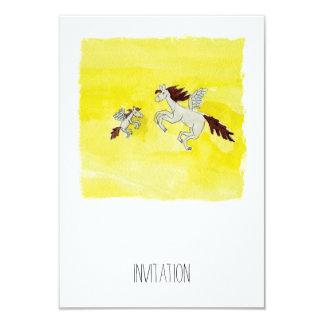Cartão Desenho criançola da aguarela com cavalos voados
