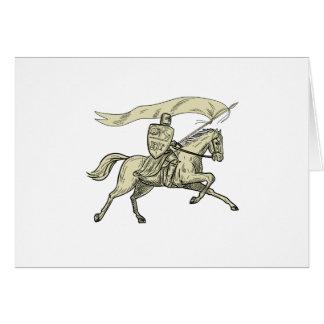 Cartão Desenho da bandeira da lança do protetor do cavalo