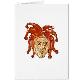 Cartão Desenho da cabeça do bobo da corte da corte