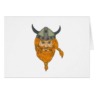 Cartão Desenho da cabeça do guerreiro de Viking do