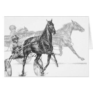 Cartão Desenho da corrida de cavalos do chicote de fios