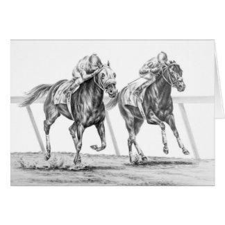 Cartão Desenho da corrida de cavalos do puro-sangue pela