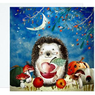 Cartão Desenho da floresta do ouriço dos amigos da