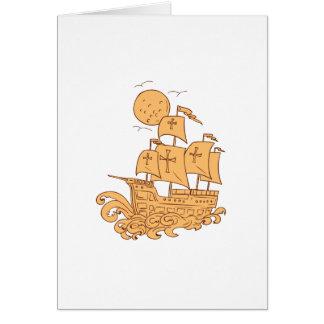 Cartão Desenho da lua do navio de navigação de Caravel