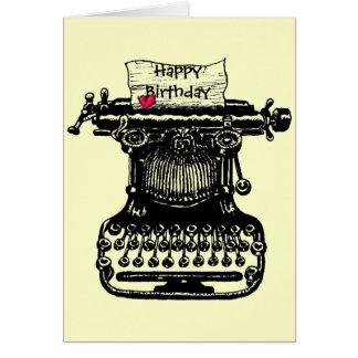 Cartão Desenho da máquina de escrever do vintage do