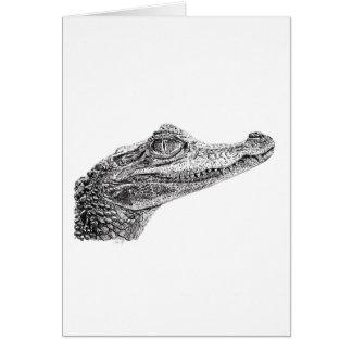 Cartão Desenho da tinta do crocodilo do bebê