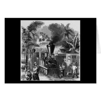 Cartão Desenho de chegada do trem
