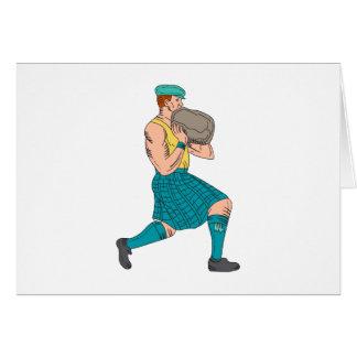 Cartão Desenho de pedra do atleta dos jogos das montanhas