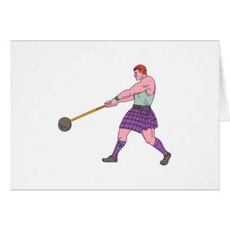 Cartão Desenho do atleta dos jogos das montanhas do lance