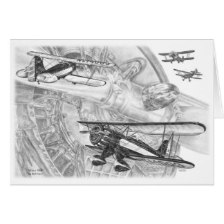 Cartão Desenho do biplano de Waco YMF pela cisne de Kelli
