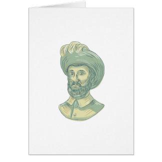Cartão Desenho do busto de Juan Sebastian Elcano