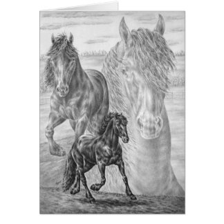 Cartão Desenho do cavalo do frisão pela cisne de Kelli