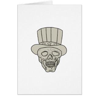 Cartão Desenho do crânio do chapéu alto do tio Sam
