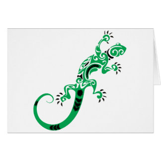 Cartão Desenho do lagarto verde