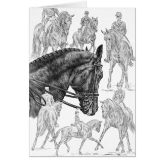 Cartão Desenho do montagem dos cavalos do adestramento
