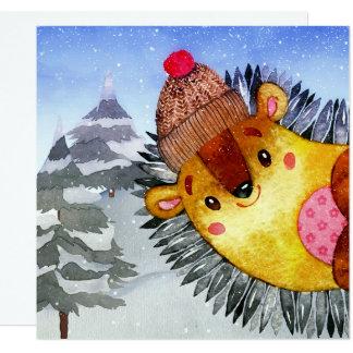 Cartão Desenho do ouriço dos amigos da floresta da