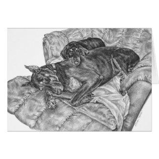 Cartão Desenho do Pinscher & do filhote de cachorro do