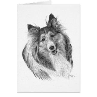 Cartão Desenho do Sheepdog de Shetland por Glenda S.