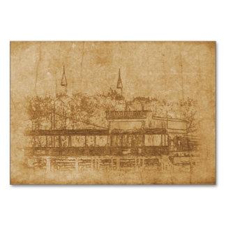 Cartão Desenho do vintage do minarete