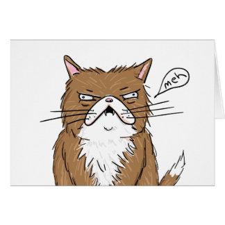 Cartão Desenho mal-humorado engraçado do gato de Meh