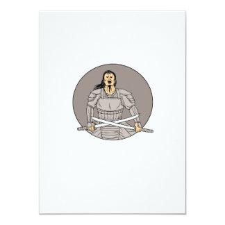 Cartão Desenho oval das espadas irritadas do cruzamento