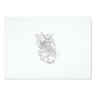 Cartão Desenho preto e branco da cabeça da gueixa da