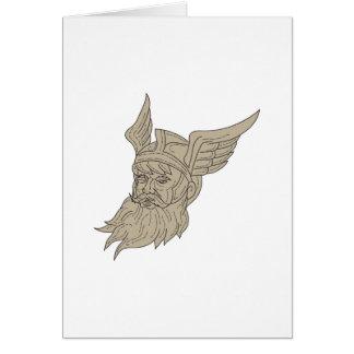 Cartão Desenho principal de Odin do deus dos noruegueses