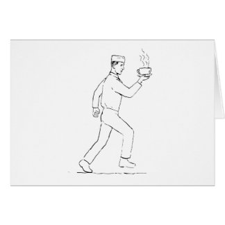 Cartão Desenho Running do café do serviço do garçom retro