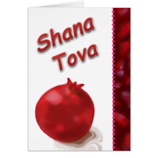 Cartão Desenho vermelho da romã bonito - Shana Tova