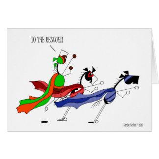 Cartão Desenhos animados bonitos do cavalo do super-herói