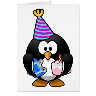 Cartão Desenhos animados bonitos do pinguim do partido