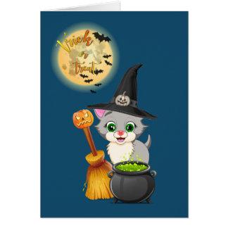 Cartão Desenhos animados cinzentos do Dia das Bruxas do