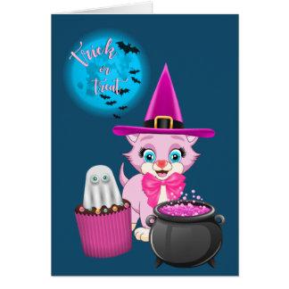 Cartão Desenhos animados cor-de-rosa do Dia das Bruxas do