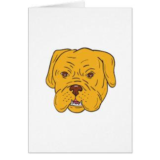 Cartão Desenhos animados da cabeça de cão do Bordéus