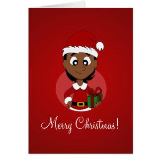 Cartão Desenhos animados da menina do Natal