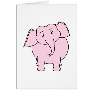 Cartão Desenhos animados de um elefante cor-de-rosa