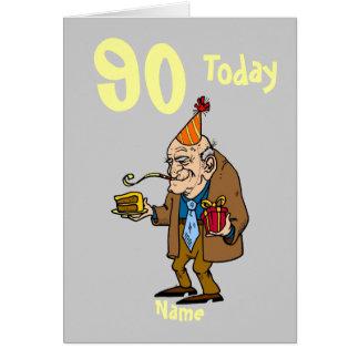 Cartão desenhos animados do aniversário do 90 90 hoje