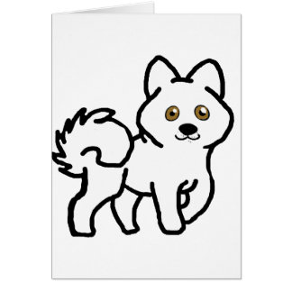 Cartão desenhos animados do branco do malamute do Alasca