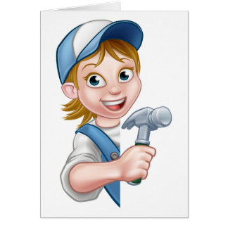 Cartão Desenhos animados do carpinteiro do construtor da