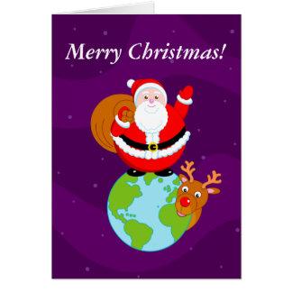 Cartão Desenhos animados do divertimento de Papai Noel