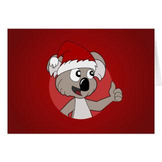 Cartão Desenhos animados do koala do Natal