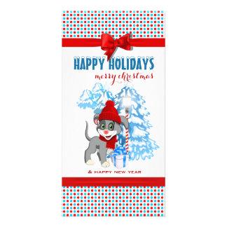 Cartão Desenhos animados do Natal do filhote de cachorro
